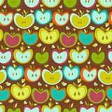 Seamless Pattern With  Vintage Apples Stock Photography