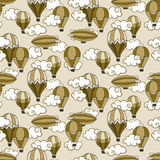 Seamless pattern with vintage  balloons in clouds. Stock Photos