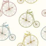 Seamless pattern vintage bicycles. Royalty Free Stock Photo