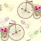 Seamless pattern vintage bicycles. Stock Photo