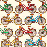 Seamless pattern with vintage bicycles Royalty Free Stock Photos