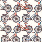 Seamless pattern with vintage bicycles Stock Photos