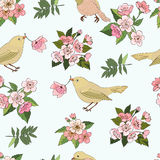 Seamless pattern with vintage birds and flowers. Royalty Free Stock Image
