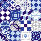 Seamless pattern vintage blue tile decoration Stock Photos