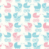 Seamless pattern with vintage buggy on light background. Baby shower party. Stock Photo