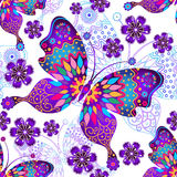 Seamless pattern with vintage butterflies Stock Photo