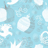 Seamless pattern with vintage cages, birds and roses Stock Photo