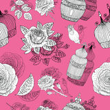 Seamless pattern with vintage cages and roses on pink Stock Photos