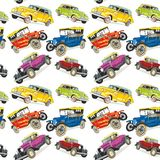 Seamless pattern vintage cars Stock Photo