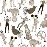 Seamless pattern, vintage circus performers and animals Royalty Free Stock Images