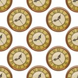 Seamless pattern of vintage clocks Royalty Free Stock Photography