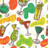Seamless pattern with vintage cocktails and hand drawn lettering. Cocktail party. Stock Images