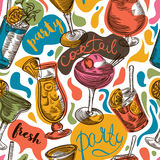 Seamless pattern with vintage cocktails and hand drawn lettering. Cocktail party. Stock Image