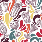 Seamless pattern with vintage cocktails and splashes . Cocktail party. Stock Images