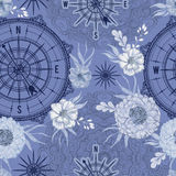 Seamless pattern with vintage compass, wind rose and floral elements in watercolor style Stock Image