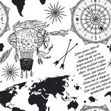Seamless pattern with vintage compass, world map, airship and wind rose. Stock Photo