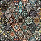 Seamless pattern. Vintage decorative elements. Hand drawn background. Islam, Arabic, Indian, ottoman motifs. Perfect for printing Stock Photography