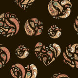 Seamless pattern with vintage decorative hearts and rounds elements. Stock Images