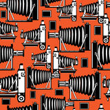 Seamless pattern vintage film photo cameras.  Royalty Free Stock Images