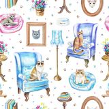 Seamless pattern with vintage furniture, objects and cats stock illustration