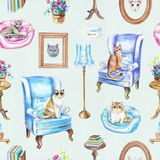 Seamless pattern with vintage furniture, objects and cats vector illustration