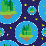 Seamless pattern with vintage future cities in the space Stock Image