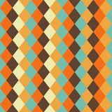 Seamless pattern vintage geometric pattern, diamond shape. Vintage style, orange, brown, yellow, and blue color Stock Image