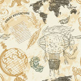 Seamless pattern with vintage globe, abstract world map, airship, rope knots, ribbon. Royalty Free Stock Photography