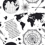 Seamless pattern with vintage globe, compass, world map and wind rose. Stock Photography