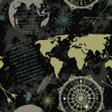 Seamless pattern with vintage globe, compass, world map and wind rose. Vector illustration Stock Photos