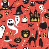 Seamless pattern Of Vintage Happy Halloween flat  icons. Hallowe Stock Photos