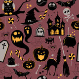 Seamless pattern Of Vintage Happy Halloween flat  icons. Hallowe Royalty Free Stock Image