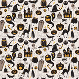 Seamless pattern Of Vintage Happy Halloween flat  icons. Royalty Free Stock Photography