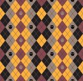 Seamless pattern Of Vintage Happy Halloween Tartan Texture with Stock Image