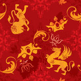 Seamless pattern with vintage heraldic elements Royalty Free Stock Photography