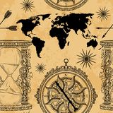 Seamless pattern with vintage hourglass, compass, world map and wind rose. Royalty Free Stock Photo
