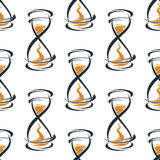 Seamless pattern with vintage hourglasses Royalty Free Stock Photos