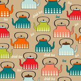 Seamless pattern with vintage Kettles Royalty Free Stock Photo