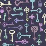 Seamless pattern with vintage keys Stock Photo
