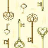 Seamless pattern with vintage keys. Vector seamless pattern with vintage keys on a light yellow background Royalty Free Stock Photo