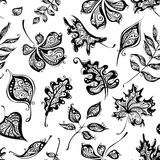 Seamless pattern of vintage leaves. Ornate background of hand-drawn leaves for your design. Black and white illustration Stock Image
