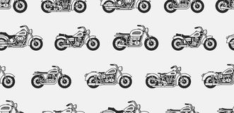 Seamless pattern with vintage motorcycles. Black silhouettes. isolated on gray background Stock Images