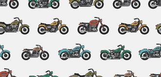 Seamless pattern with vintage motorcycles. Isolated on gray background Royalty Free Stock Photos
