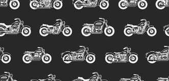 Seamless pattern with vintage motorcycles. White silhouettes. isolated on black background Stock Photography