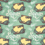 Seamless Pattern with Vintage Ornate Bar of Soap Stock Photos