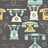 Seamless pattern with vintage phones Royalty Free Stock Photography