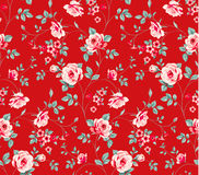 Seamless pattern with vintage pink roses on red background. stock illustration
