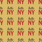 Seamless pattern with Vintage quote Hello NY New York Stock Photos