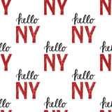 Seamless pattern with Vintage quote Hello NY New York Royalty Free Stock Photography