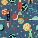 Seamless pattern with vintage rockets in space Royalty Free Stock Photos